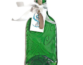 Melted Wine Bottle Cheese Tray with Elegant Kiln-Carved Dragonfly Swirl Design and Your Choice of Spreader