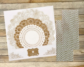 24 Gold and White Paper Doilies, 50 Damask Paper Straws, Wedding, Tea, Cake, Dessert Supply, Bridal Shower Supply