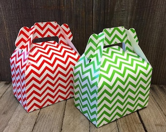 Red, Green and White Chevron Gable Boxes - Favor Box, Gift Box, Party Supply 24 Ct.- Christmas Favor Box- Holiday Gift Box