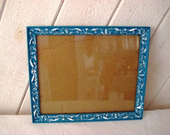 "Marine blue distressed frame, vintage wood picture frame, 9 x 11"", painted frame, shabby cottage chic decor, farmhouse decor"
