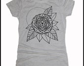 Women's Gypsy Flower Mandala Tee Sacred Geometry Tattoo Style T-Shirt
