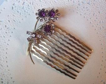 Amethyst Rhinestone Hair Comb (14) - Flower Amethyst Hair Comb - Jeweled Hair Comb - birthday gift -  vintage jewelry