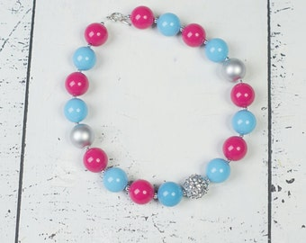 TURQUOISE HOT PINK Silver Chunky Necklace, Hot Pink Turquoise Chunky Necklace, Adult Necklace, Chunky Baby Necklace, Toddler Girls Necklace