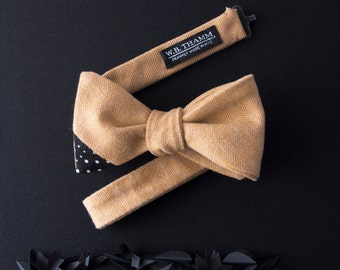 Dale Men's Bow tie - Solid herringbone honey mustard yellow bowtie