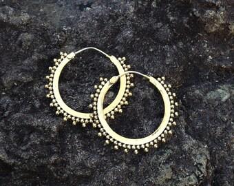 Brass Medium Modern Tribal Hoop Earrings with Sterling Silver Ear Wire, Gypsy Urban Exotic Beauty - E142