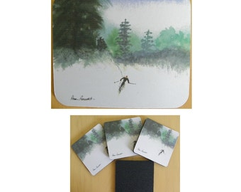 SKIER Mousepad OR Placemat plus Coasters Gift set reproduced from Watercolor by Pam Ponsart; Optional Gift Box
