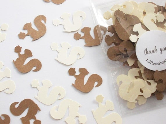 Woodland animal party decoration squirrel confetti for Baby confetti decoration