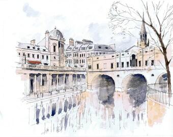 Original watercolour of the Pulteney Bridge, River Avon, Bath