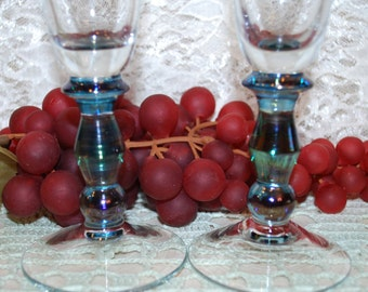 """2 Pc Set 9"""" Clear W/ Iridescent Stems Flared 8 Oz Champagne Flutes"""