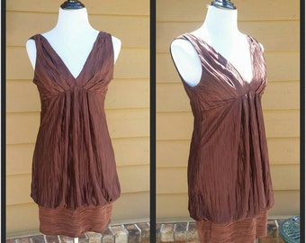 LAST CHANCE To BUY Flapper Dress Chocolate Brown Silky Sleeveless Summer Dress Size Large I Gypsy Bohemian Dress I Summer Sleeveless Dress