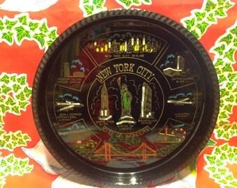 Vintage black plastic souvenir tray- New York City