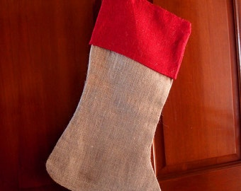 "Burlap Stocking with Red Cuff 8"" X 17"" (1 Stocking)"