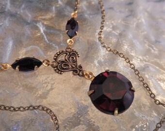 Vintage Garnet Pendant ~ Garnet Necklace ~ Marsala ~ Victorian Style ~ Burgundy ~ Vintage Glass ~ by LadyofTheLakeJewels
