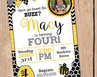 Bumble Bee Invitation Bumble Bee Invite Bumble bee Birthday Party
