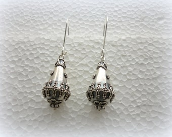 Silver 925 dangle EARRINGS silver 925 jewelry Hancrafted Sterling silver Safe lock