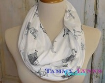 NEW!! Dogs Dark Gray on Off White Lightweight T-Shirt Jersey Knit Infinity Scarf Women's Accessories Dog Lover's