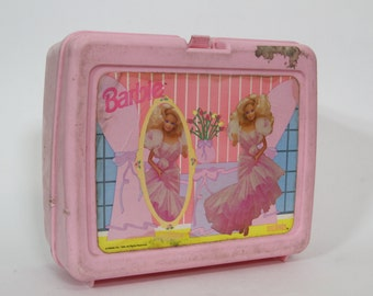 Vintage Pink Barbie Lunchbox 1990 Mattel Lunch Box