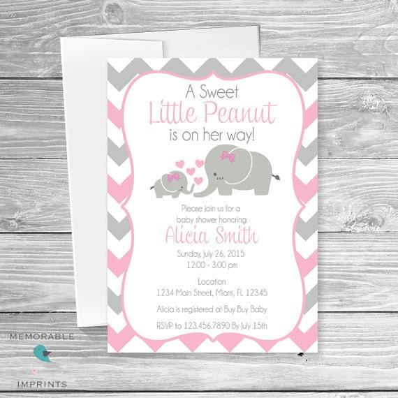 Baby Elephant Themed Baby Shower Invitation Baby Shower