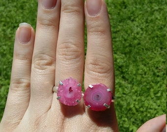Pink solar quartz, silver rings, 2 sizes.