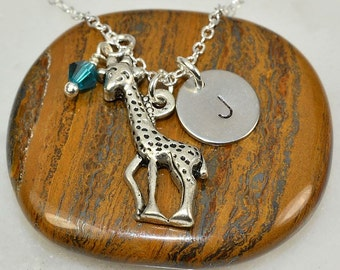Giraffe Necklace,Personalized Necklace,Giraffe Initial Necklace,Giraffe Jewelry,Mom Gift,Mom Necklace,Sister Gift,BFF Gift,Christmas Gift