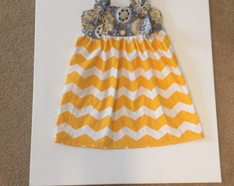 Girls tie knot dress  girls spring dress yellow and grey dress  sizes 3mo-8yrs