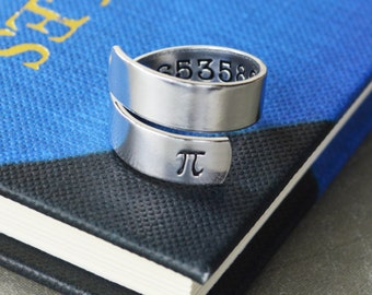 Pi Wrap Ring - Hand Stamped Teacher Gift - Math and Science Gift