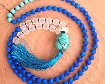 Beaded Turquoise Necklace, Beaded Blue Mala Necklace, Blue Beaded Necklace, Blue Tassel Necklace, Beaded Yoga Necklace, Tassel Necklace