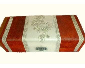 RARE Antique Victorian Jewelry Box Keepsake Memory Box 1800s Floral Case Orange Velvet & Cream Shabby Chic Vanity Decor Turn of the Century