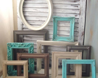 Coastal Vintage Picture Frames, Aqua, Gray, Set of 10 Painted Vintage Frames, MADE to ORDER Cottage Chic Frame Gallery, Ornate Frames