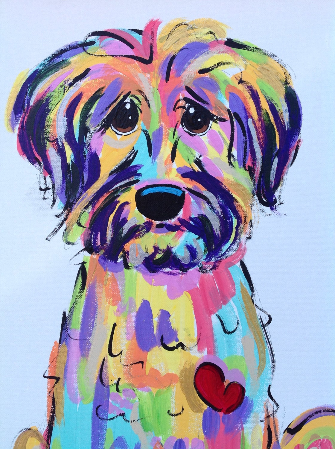 Dog art dog painting dog portrait whimsical dog custom for Dog painting artist