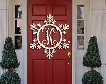 Snowflake Monogram- Holiday Wooden Monogram Letters - Interlocking Script, Door Hanger Wreath- Christmas, winter holiday decoration
