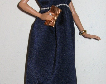 Grecian gown in navy blue