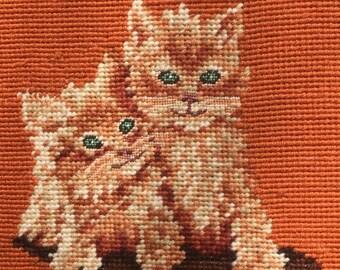 Vintage Ginger Kitten Wool Embroidered Framed Art 70's