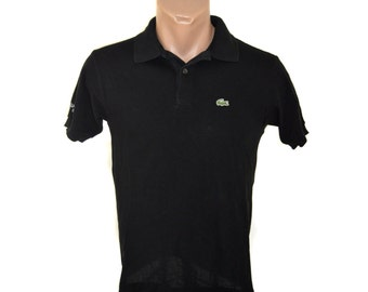 Vintage Lacoste men polo shirt golf black 100% cotton Size 14