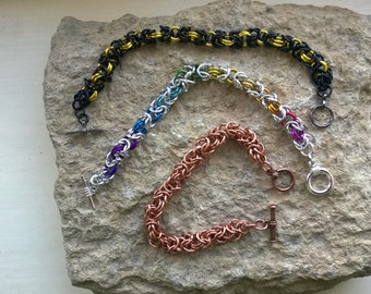 Byzantine or Bird Cage chainmaille bracelet - your choice of colours