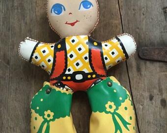 Vintage Plush Rubber Cowgirl or Cowboy Doll Western Redhead Toy