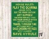 Zelda House Rules Subway Art - Ocarina of Time - Kokiri Forest Green - 11x14 Inches - SALE
