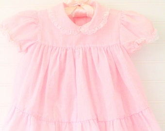 Vintage baby dress. light pink striped with laced collar, no name for 18 mo