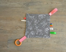 Baby Sensory Blanket - Baby Gift - Blanket with Tags, Wooden Teething Ring and Minky Fabric - Andrea Lauren Fabric
