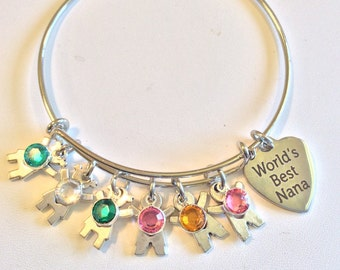 CUSTOM MADE ORDER Handcrafted Mother's/Grandmother or any occasion birthstone bracelet - Genuine Swarovski stones - Stainless Steel