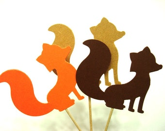 Set of 24Pcs - Orange, Kraft & Brown MIX 'FOX' Party Picks, Cupcake Toppers, Toothpicks, Food Picks