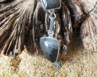 Rutilated Grey Quartz and Sterling Silver Necklace