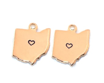 2x Gold Plated Ohio State Charms w/ Hearts - M115/H-OH