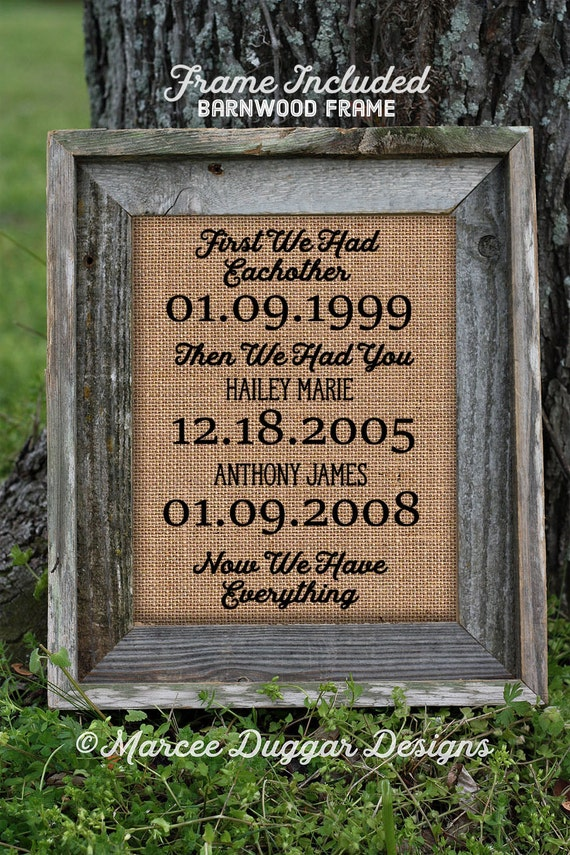 Framed Wedding Gift | Anniversary Gift| Parent Gift | Mom and Dad Gift | Personalized | Burlap Print Anniversary| 236