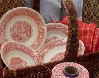 Primitive Folkart Set of 4 Red Transferware Bowls Thewarehouseshelf Collectibles  We Ship Internationally