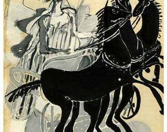 GEORGES BRAQUE - 'Horse and chariot' - vintage limited edition lithograph - c1955 (Mourlot/Teriade, Paris)