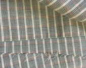 Vintage fabric,  woven yardage, pale green, white and black plaid.