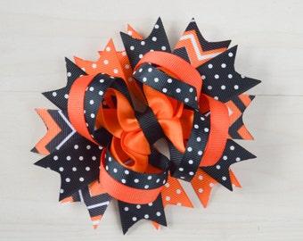 Halloween bow, orange and black Halloween bow, Over the top Halloween bow, hairbow, holloween hair clip