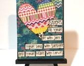 Sisters Gift - Print and Easel Set - Sister Heart mixed media - Mixed Media Art