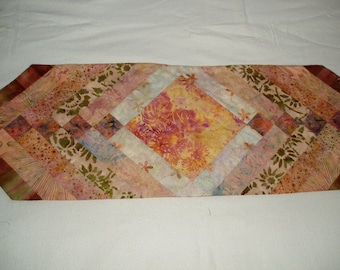 Hand Quilted Batiks runner in coral reef fabrics